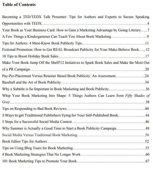 Table of contents for Smith Publicity's powerful and sometimes unusual book marketing tips and insights