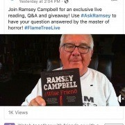 Virtual book promotion example on facebook live by author Ramsey Campbell whose book was published on Flame Tree Press. How to promote a book virtually.