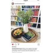 A stacked and colorful bookshelf serves as a perfect backdrop for your photos. People will instantly identify and recognize your post when they see your bookshelf behind it–and the envy will ensue