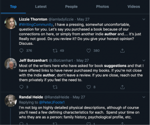 Here's an example of a writer reaching out, using a specific hashtag, to gather opinions on whether or not to move forward with providing a positive endorsement for a book