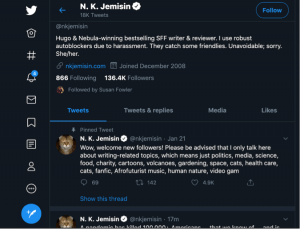 An author's Tweet using Twitter to promote their book and connect with readers.