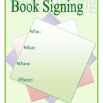 An invitation to a book signing event at a local bookstore by the author's publicity team.