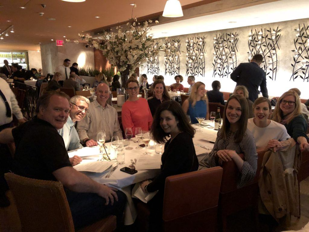 Dinner with book publicity experts at the BookExpo.