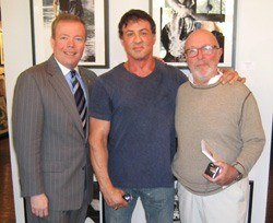 Group photo of David Streets, Sylvester Stallone and Smith Publicity client Stephen Verona, Director of Lords of the Flatbush and author of The Making of the Lords of Flatbush